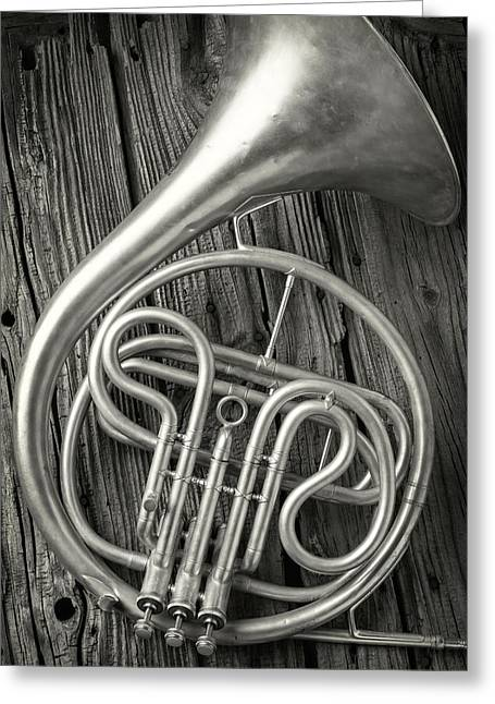 Silver French Horn Greeting Card by Garry Gay