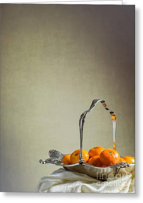 Silver Fruit Basket Greeting Card