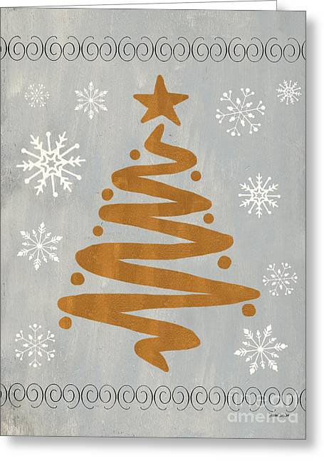 Silver Gold Tree Greeting Card by Debbie DeWitt