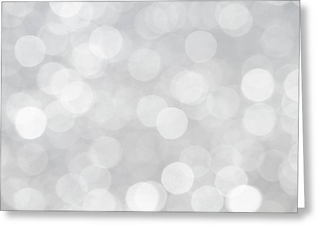 Silver Grey Bokeh Abstract Greeting Card by Peggy Collins