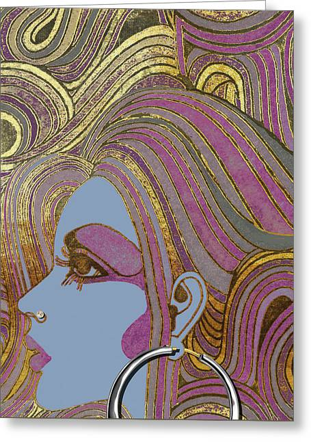 Silver Hoop Retro Fashion Girl Greeting Card by Mindy Sommers