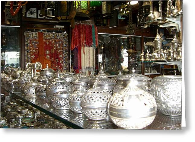 Silver In The Arabian Souq Greeting Card by Sunaina Serna Ahluwalia