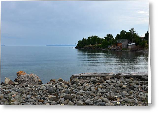 Silver Islet Fog Greeting Card by Whispering Feather Gallery