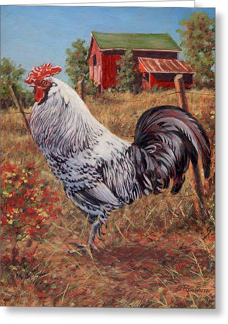 Barn Yard Greeting Cards - Silver Laced Rock Rooster Greeting Card by Richard De Wolfe