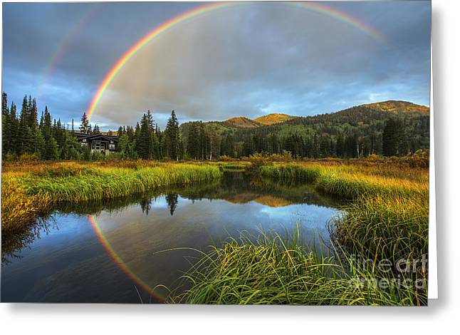 Silver Lake Rainbow Greeting Card by Spencer Baugh