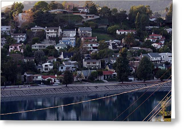 Silver Lake Reservoir And Hollywood Hills Greeting Card