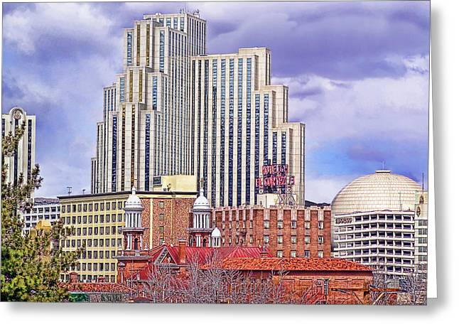 Silver Legacy And Skyline - Reno, Nevada Greeting Card by Steve Ellison