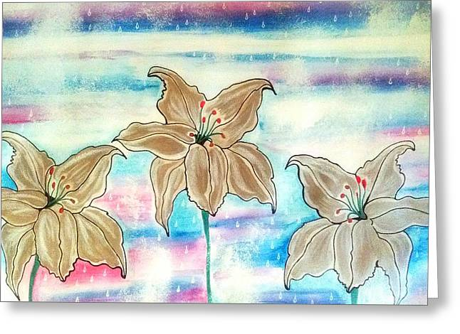 Silver Lilies  Greeting Card by Amy Barrow