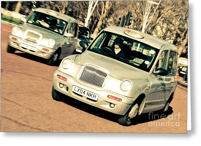 Silver London Taxi Cabs Greeting Card by Andy Smy