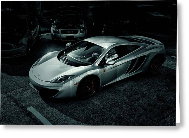 Greeting Card featuring the photograph Silver Mclaren by Joel Witmeyer