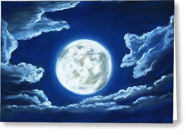 Silver Moon - Sky And Clouds Collection Greeting Card by Anastasiya Malakhova