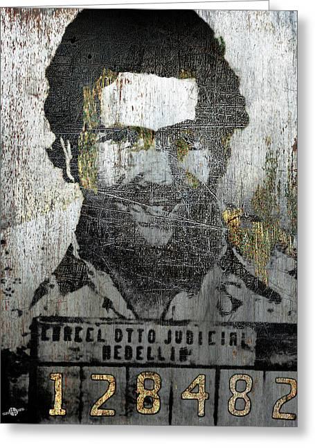 Silver Pablo Escobar Mug Shot 1991 Abstract Greeting Card by Tony Rubino