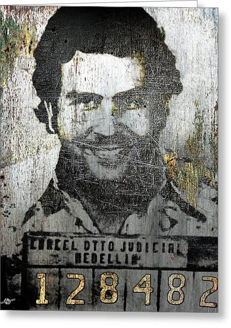 Silver Pablo Escobar Mug Shot 1991 Greeting Card