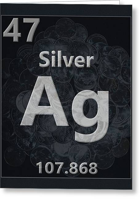 Silver Periodic Table Greeting Card by Dan Sproul