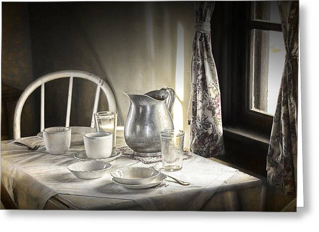 Silver Pitcher In A Vintage Table Setting Greeting Card by Randall Nyhof