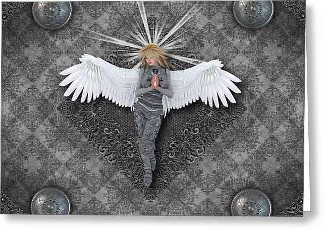 Silver Praying Angel Greeting Card