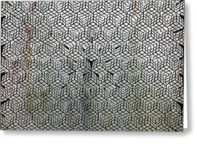 Silver Rubik's Cube Abstract Black And White 1 Greeting Card by Tony Rubino