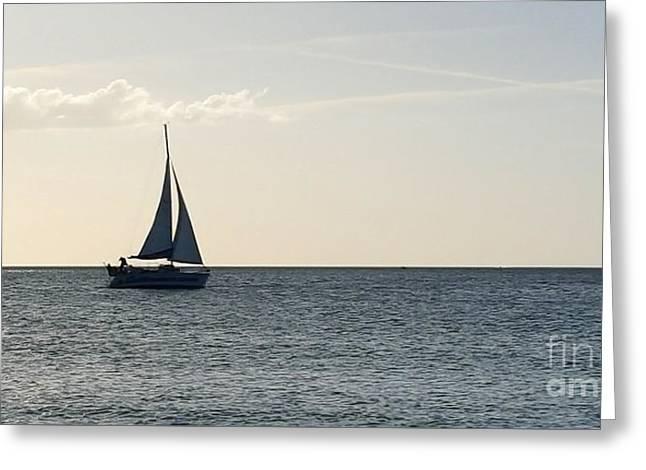 Silver Sailboat Greeting Card