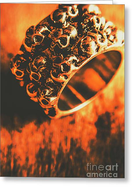 Silver Skulls Pirate Ring Greeting Card