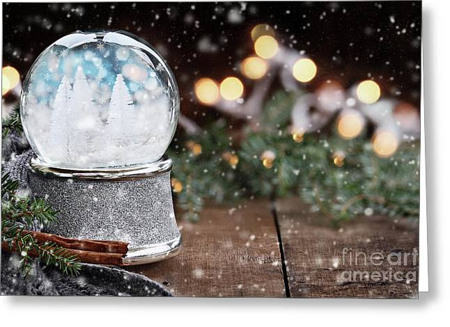 Greeting Card featuring the photograph Silver Snow Globe With White Christmas Trees by Stephanie Frey