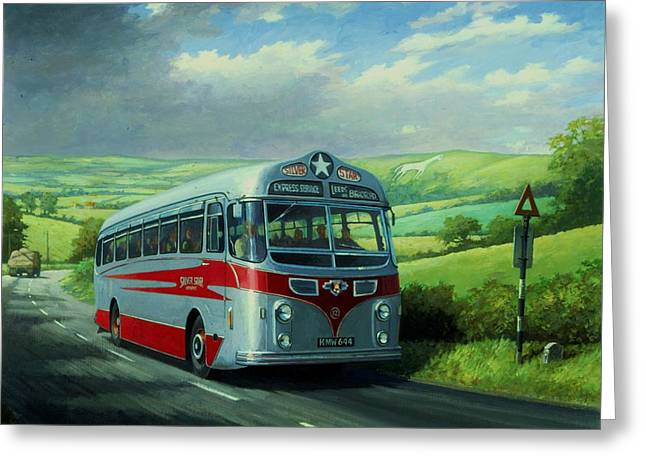 Silver Star Leyland Coach Greeting Card by Mike  Jeffries