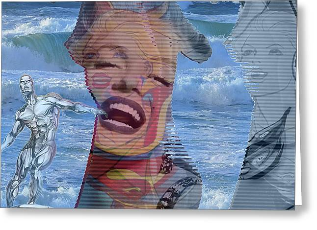 Silver Surfer, Marilyn And Superwoman, Greeting Card