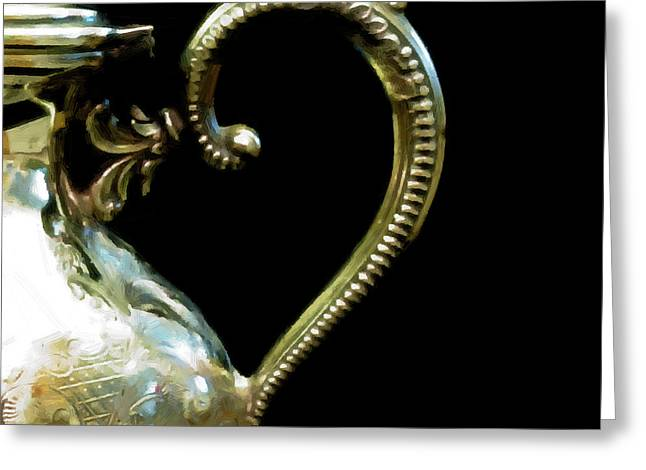 Silver Tea Pot Handle - Digital Oil Art Work Greeting Card by Sandra Foster