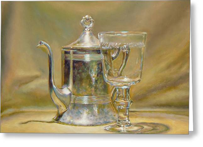 Silver Teapot And Glass Greeting Card by Jeffrey Hayes