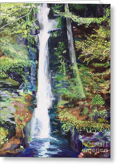 Greeting Card featuring the painting Silver Thread Falls by Mary K Conaboy