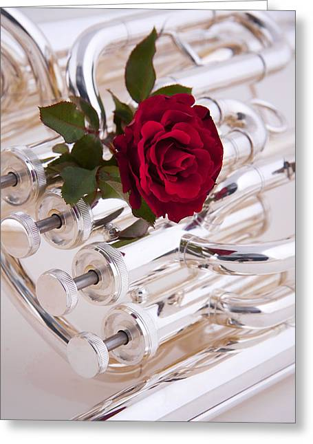 Silver Tuba With Red Rose On White Greeting Card by M K  Miller