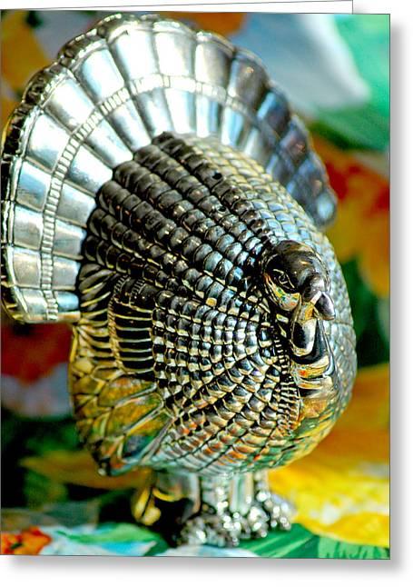Silver Turkey Left Greeting Card