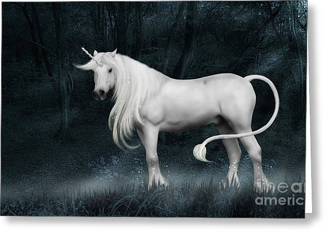Greeting Card featuring the photograph Silver Unicorn Standing In Miisty Forest by Ethiriel  Photography