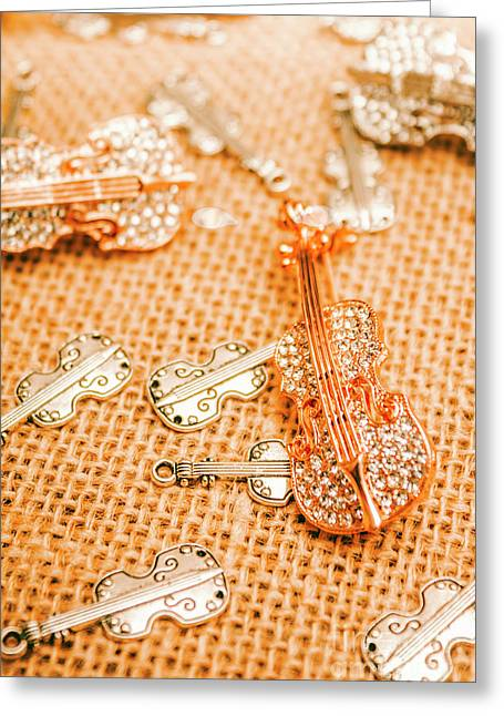 Silver Violin Pendant With Diamonds Greeting Card by Jorgo Photography - Wall Art Gallery