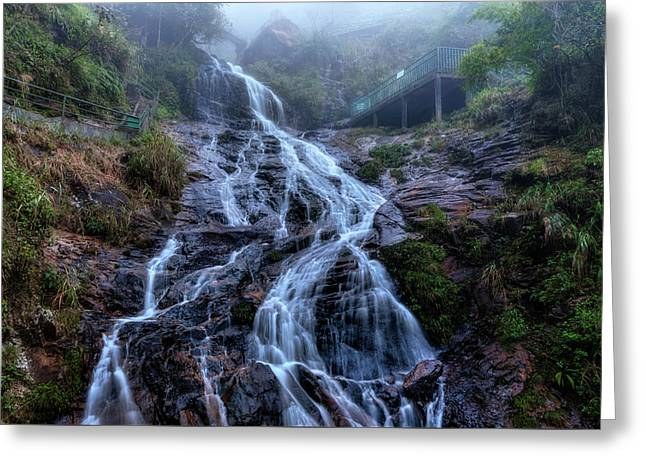 Silver Waterfall - Vietnam Greeting Card by Joana Kruse