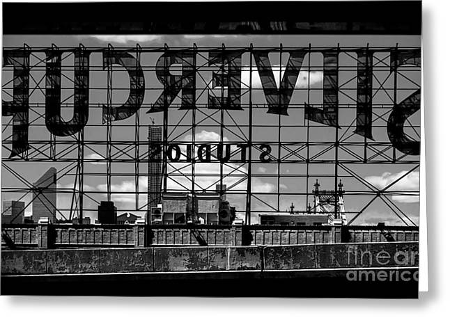 Silvercup Studios Sign Backside Greeting Card by James Aiken