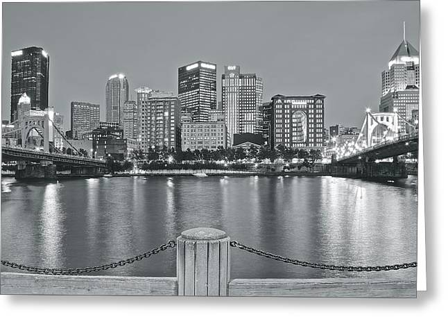 Silvery Lights In Pittsburgh Greeting Card
