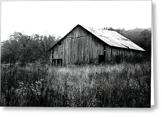 Old Barns Greeting Cards - Silvery Vintage Barn Greeting Card by Rebecca Brittain