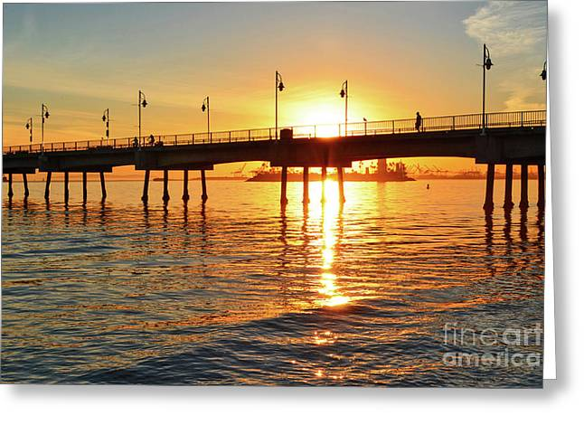 Sily Sunset At The Pier Greeting Card