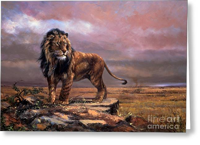 Simba Of The Plains Greeting Card by Silvia  Duran