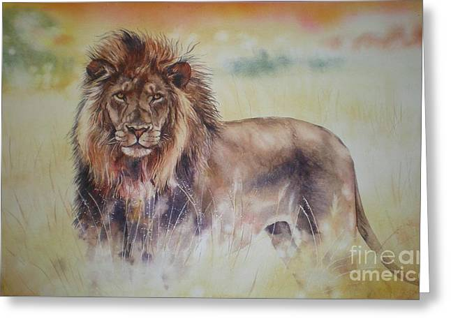 Simba Greeting Card by Sandra Phryce-Jones