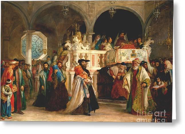 Simchat Torah, Livorno, 1850  Greeting Card