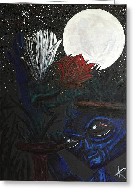 Greeting Card featuring the painting Similar Alien Appreciates Flowers By The Light Of The Full Moon. by Similar Alien