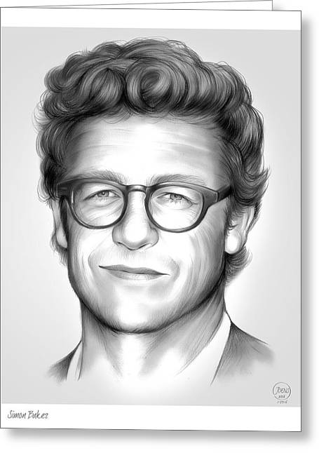 Simon Baker Greeting Card by Greg Joens