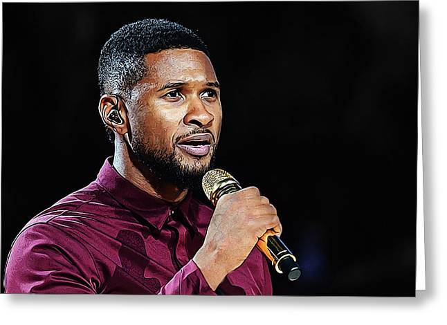 Simple Acrylic Paint Sketch Of Usher In Concert Greeting Card