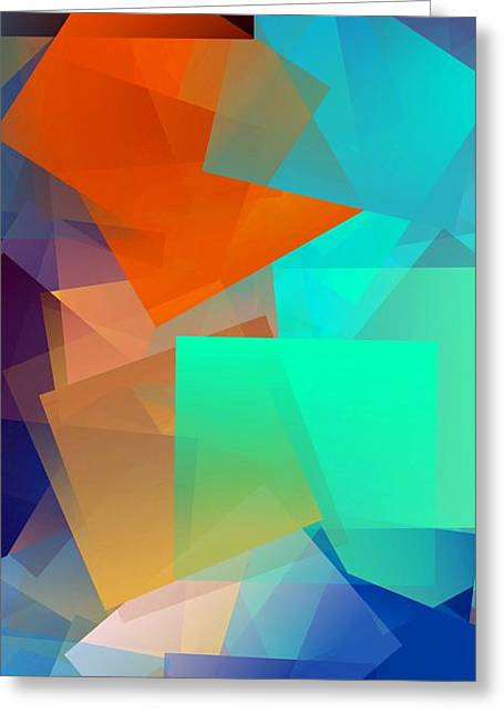 Simple Cubism Abstract 95 Greeting Card by Chris Butler