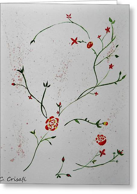 Simple Flowers #1 Greeting Card by Carol Crisafi