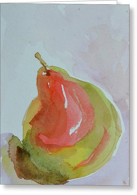 Greeting Card featuring the painting Simple Pear by Beverley Harper Tinsley