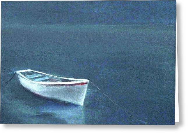 Simple Serenity - Lone Boat Greeting Card