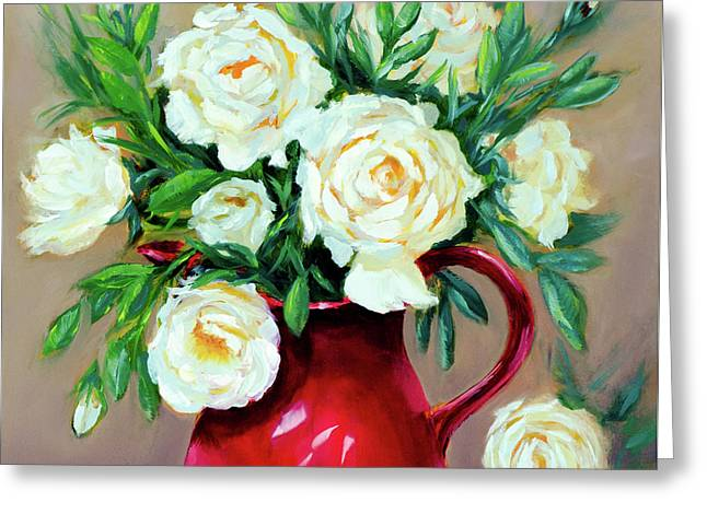 Simple White Roses Greeting Card