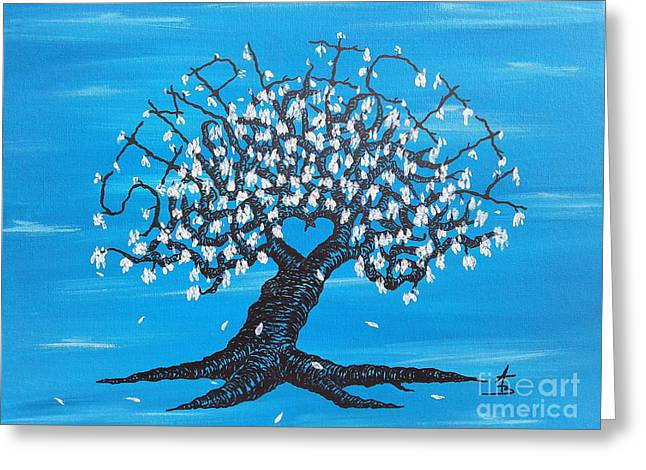 Greeting Card featuring the drawing Simplicity Love Tree by Aaron Bombalicki